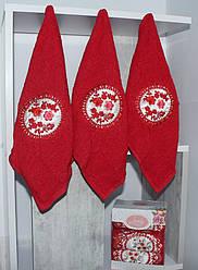 Набор красных полотенец 100% хлопок (3 шт)