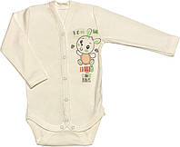 Детское боди для малышей рост 86 1-1,5 года на мальчика девочку трикотажное с длинным рукавом молочное