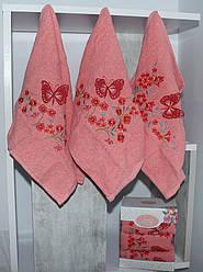 Набор из трех персиковых кухонных полотенец 100% хлопок (3 шт)