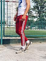 Теплые спортивные штаны в стиле Adidas Thre line красные