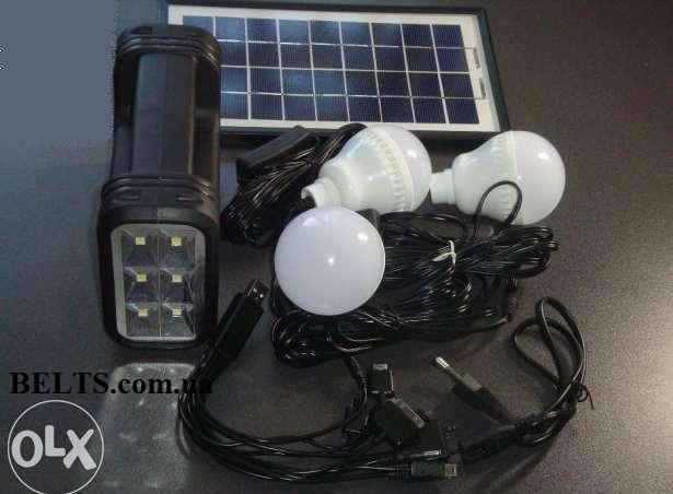 Фонарь с солнечной батареи (набор с лампочки, солнечной панелью и  переходниками)  GDLite GD-8037
