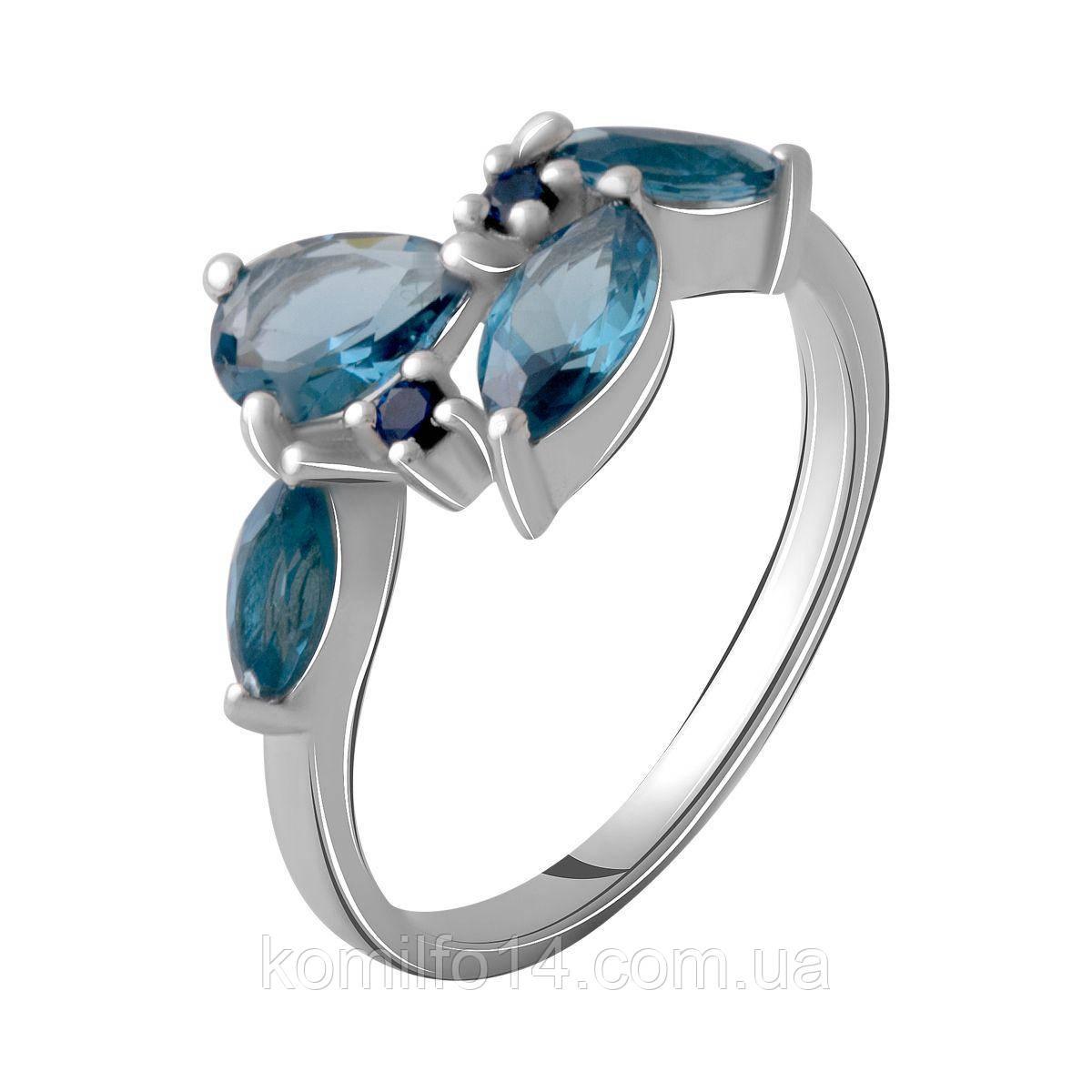 Серебряное кольцо с натуральным лондон топазом