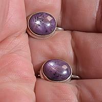 Срібні сережки з сапфіром зірчастим, 555СРП