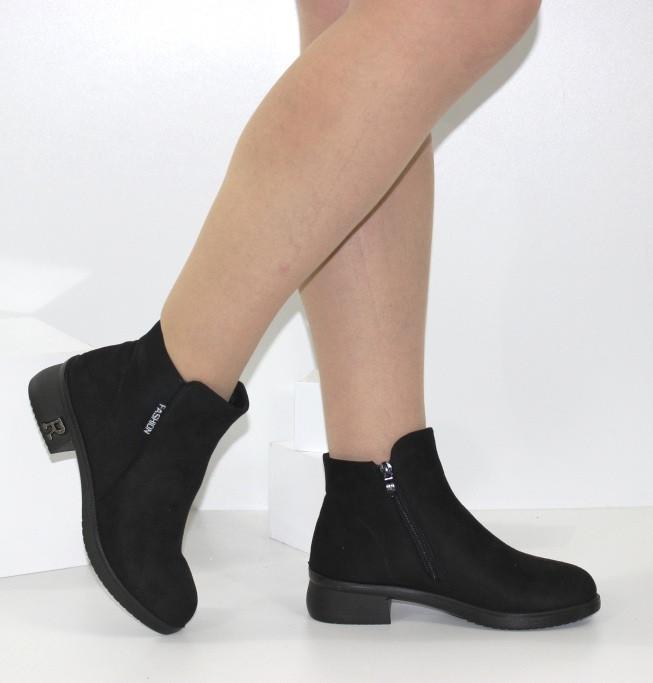 Женские ботинки черные замшевые демисезон