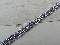 Страхова смужка на силіконі 1х40 см, срібло + бузкові камені.