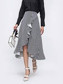 Асимметричная женская хлопковая юбка в полоску,  размер от 44 до 58