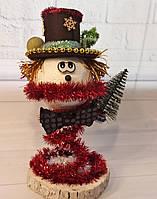 Новогодний Снеговик с маленькой елкой. Декор своими руками. Новогодняя настольная композиция 2021