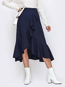 Длинная юбка синяя в полоску с воланами,  размер от 44 до 58