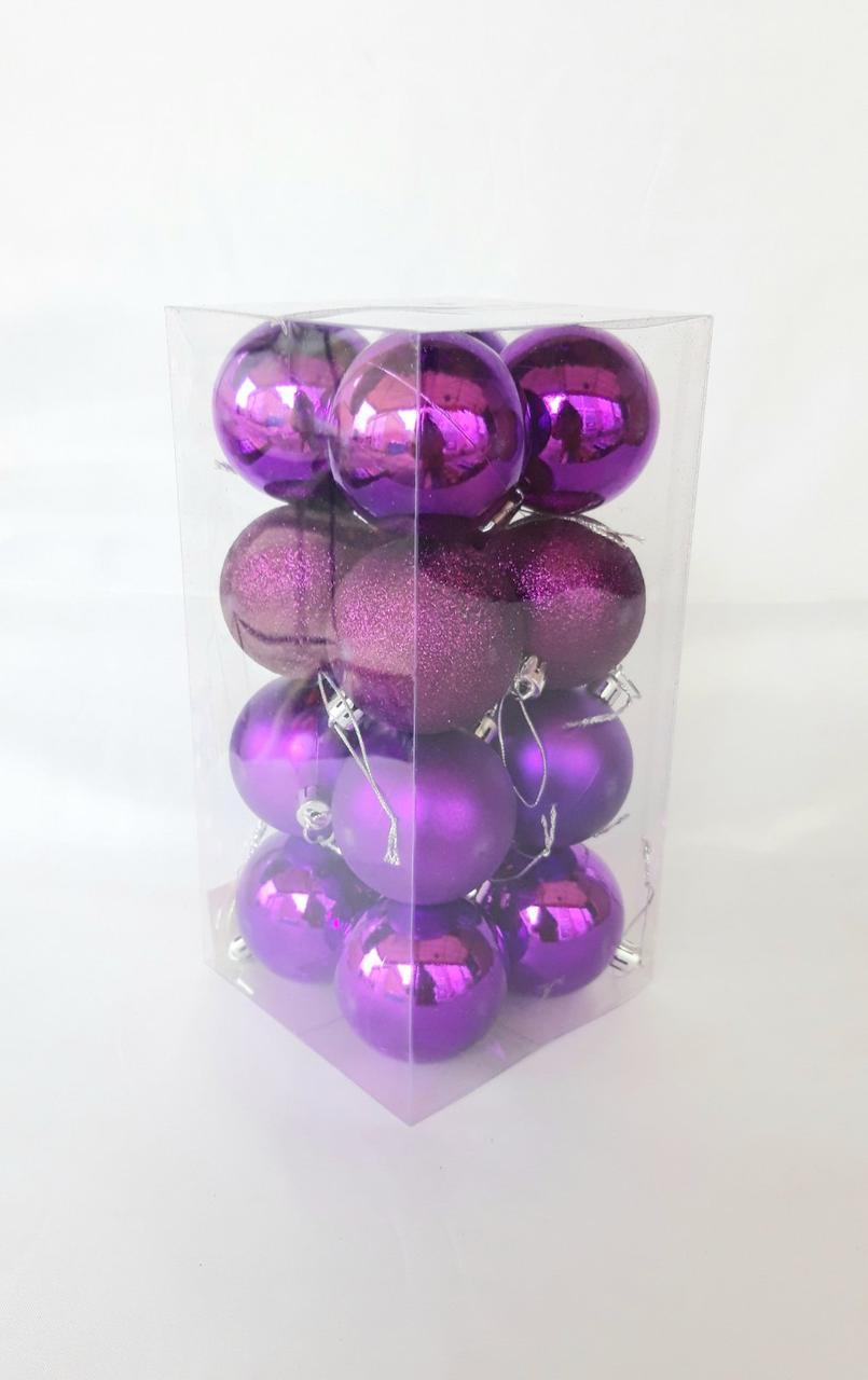 Елочные шары 16 штук в упаковке диаметром 6 см сиреневые