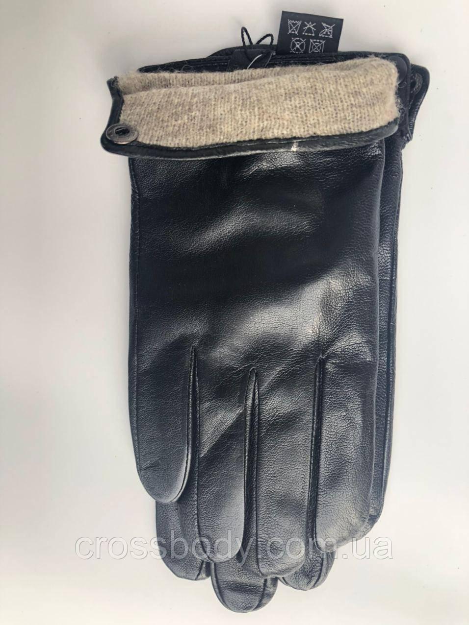 Мужские  кожаные перчатки черные