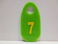 Номерки универсальные для раздевалки, на ключи 70*35 мм салатовые, фото 1