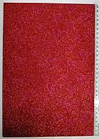 Фоамиран красный с узором с глиттером Josef Otten 2 мм