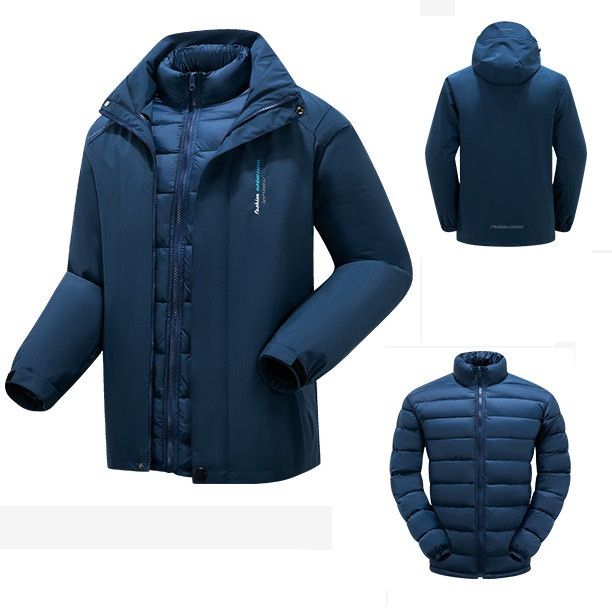 3 в 1 ветро-влагозащитная мужская тёплая зимняя куртка+пуховик=парка
