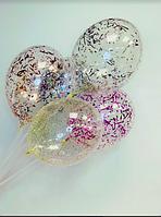 """Воздушный шар с гелием и конфетти (Мишура) 12"""" (30 см.) (поштучно) на Оболони (Выбор цвета)"""