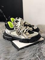 Gucci Flashtrek Silver Black Green (Серый), фото 1