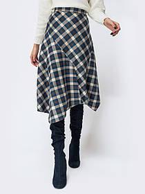Оригинальная женская замшевая юбка асимметрия в принт,  размер от 44 до 56
