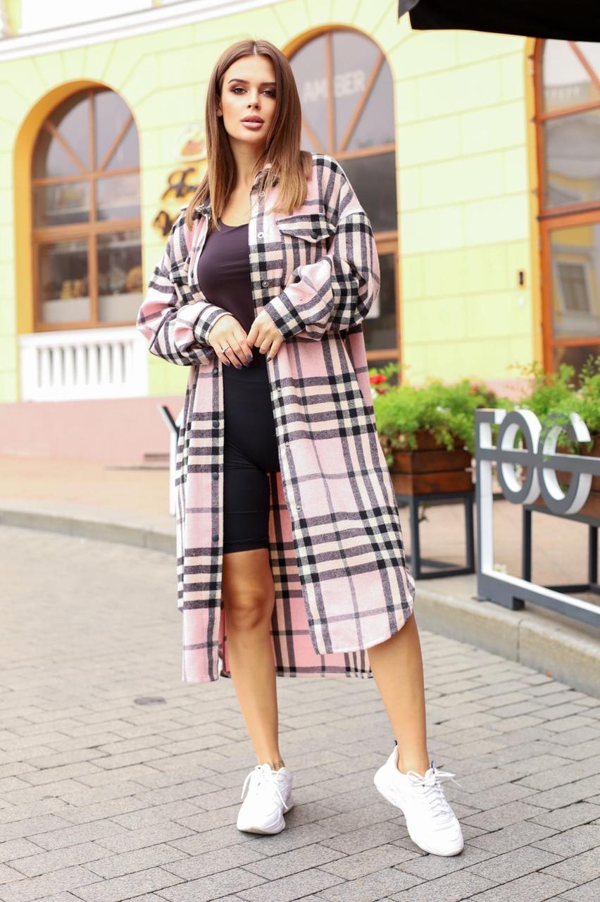 Батальная длинная шерстяная рубашка-пальто 48-52 (в расцветках)