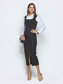 Приталенное платье-сарафан тёмно-серого цвета, большого размера от 44 до 52