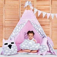 Вигвам Хатка комплект Нежность Розовый с серым (облака) с подушками, фото 1