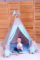 Вигвам Хатка комплект Принц Синий с серым с подушками, фото 1