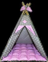 Вигвам Хатка комплект Принцесса Розовый с мягким ковриком, фото 1
