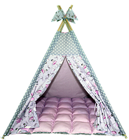 Вигвам Хатка комплект Балерины с мягким ковриком розовый с серым, фото 1