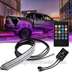 Подсветка днища и салона автомобиля/ Светомузыка + Пульт/ Светодиодная RGB LED (2 шт х 90 см + 2 шт х 120 см)