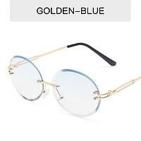 Очки для имиджа круглые овальные безободковые Popular  голубые