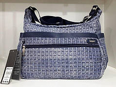 Женская модная сумка с плечевым ремнем вместительная синяя в клетку для документов Dolly 649