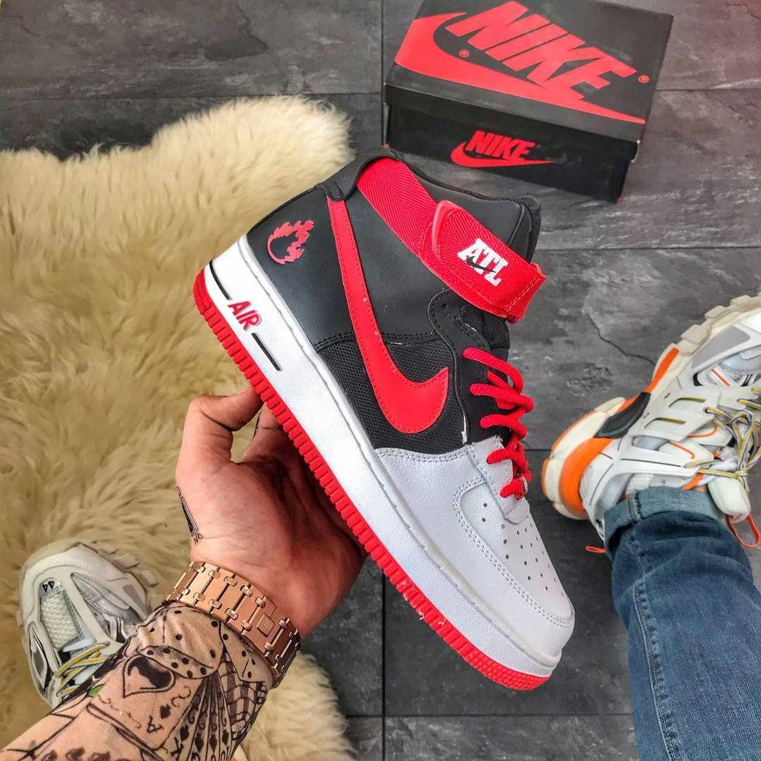 Nike Air Force High Black Red (Черный Красный)