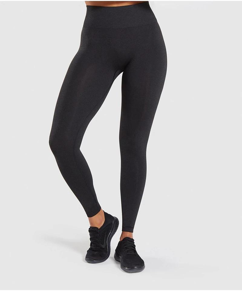 Жіночі спортивні жіночі для фітнесу. Легінси безшовні компресійні для спорту, бігу, йоги (чорні) M