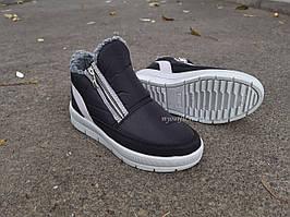 Жіночі черевики утеплені стильні Чорні   Розмір 40  
