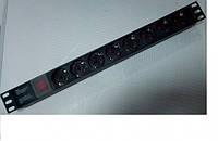 """Блок розеток 8 розеток с выключателем без кабеля, 220В, 1U 19"""", алюминиевый корпус, черный"""