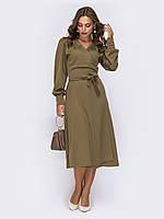 Симпатичное женское платье на запАх из французского трикотажа, цвет хаки, размер от 44 до 50