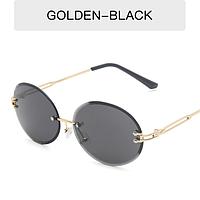 Очки солнцезащитные от солнца круглые овальные безободковые Popular  черные