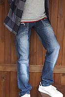 Чоловічі молодіжні джинси Vigoocc 711 сині з потертостями. Розмір 28