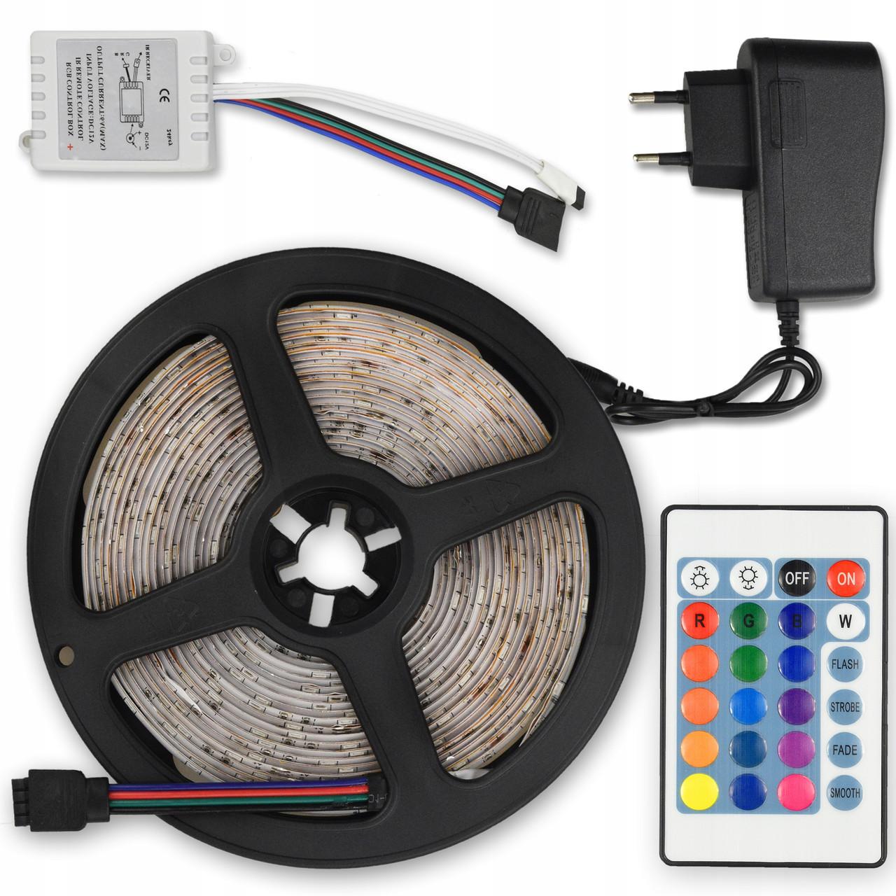 Светодиодная лента RGB 5050 с пультом и блоком питания 5 м (RI0364)