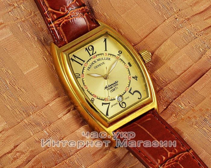 Мужские наручные часы Franck Muller Art Deco Gold Brown реплика Франк Мюллер механические с автоподзаводом