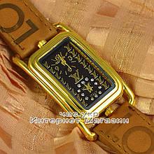 Женские наручные часы Louis Vuitton Quartz Dual Brown Gold Black качественная реплика