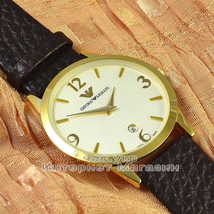 Мужские наручные часы Emporio Armani Quartz Data Gold White с календарем кварцевые класический стиль реплика