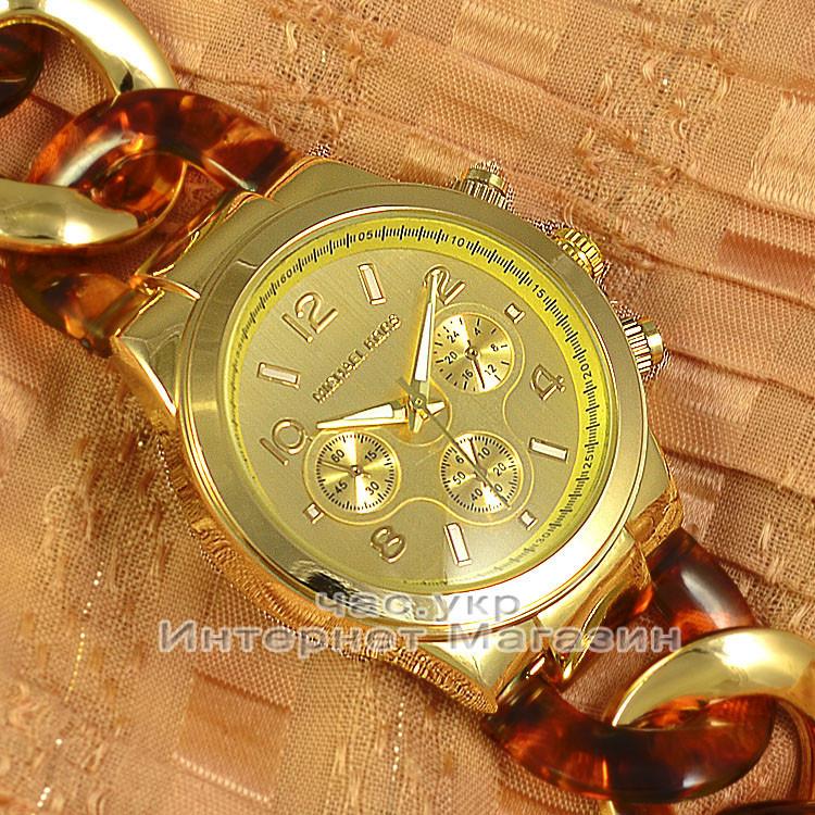 Женские наручные часы Michael Kors Gold Yellow Brown косичка японский механизм люкс реплика