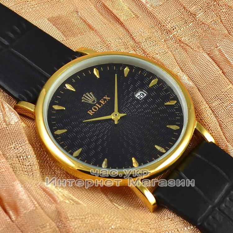 Мужские наручные часы Rolex Quartz Date Gold Black с календарем кварцевыя Япония люкс реплика
