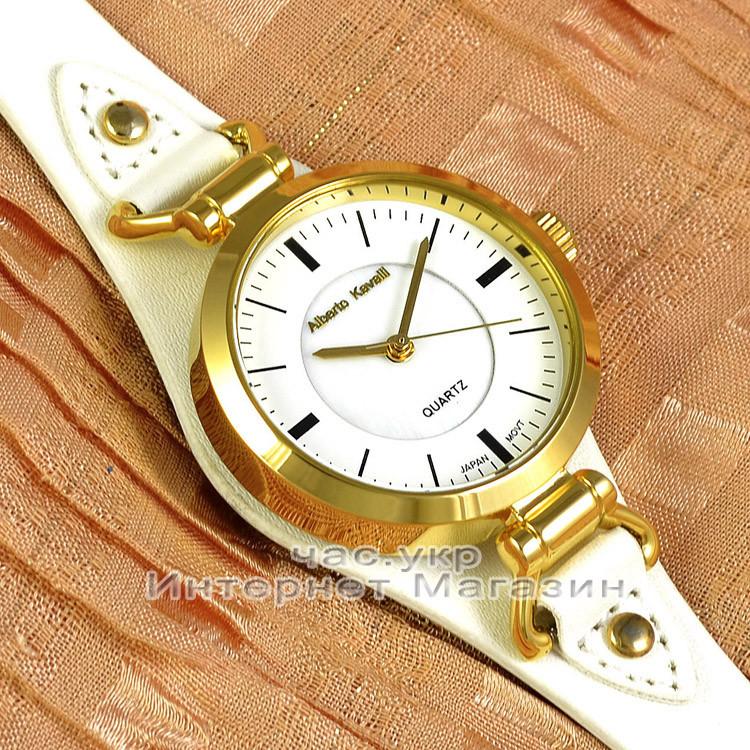 Женские наручные часы Alberto Kavalli Quartz White Gold классические кожаный ремешок качественная реплика