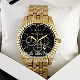 Мужские наручные часы Michael Kors Quartz Gold Black Майкл Корс качественная премиум реплика, фото 2