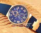 Мужские наручные часы Ulysse Nardin Maxi Marine Chronometer 266-67-3/43 Gold Blue Улис Нардин реплика, фото 2