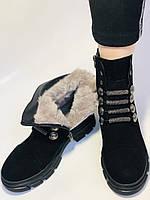 Натуральне хутро. Люкс якість. Жіночі зимові черевики. Натуральна замша .Туреччина. Mario Muzi.Р. 38, фото 3