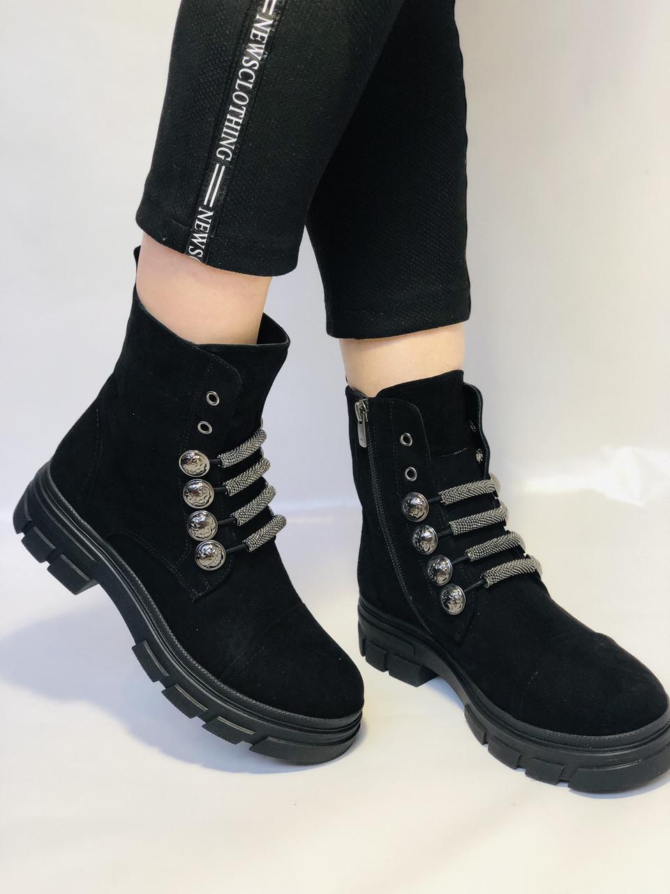 Натуральне хутро. Люкс якість. Жіночі зимові черевики. Натуральна замша .Туреччина. Mario Muzi.Р. 38