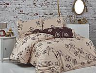 Красивое постельное белье BELIZZA Турция Евро 200*220 Хлопок 100% Цвет Беж