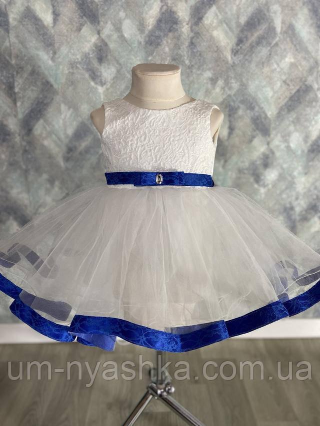 сине-белое платье с кружевом на годик