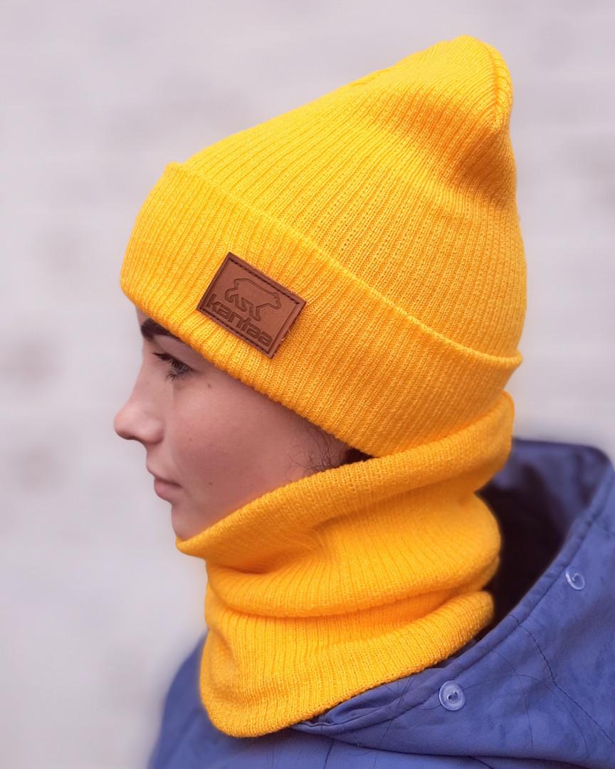 Вязаная шапка с хомутом демисезонная КАНТА унисекс размер взрослый желтый (OC-924)